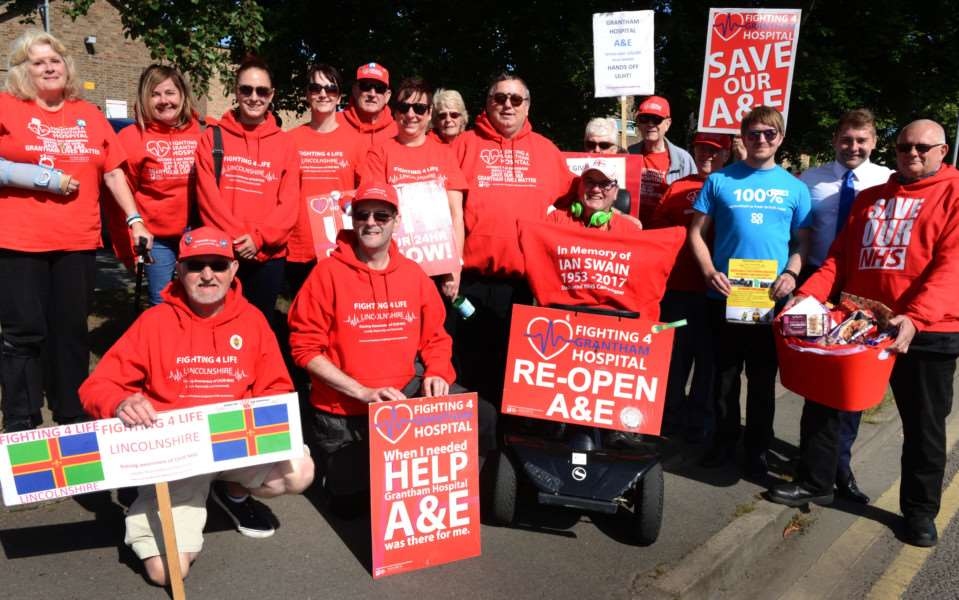 Campaigners with Fighting 4 Life Lincolnshire call for the full reopening of A&E at Grantham at the Bikers Run.