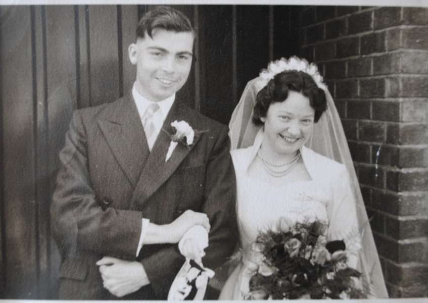 The happy couple, Maurice and Patricia Whincup, sixty years ago at their wedding.