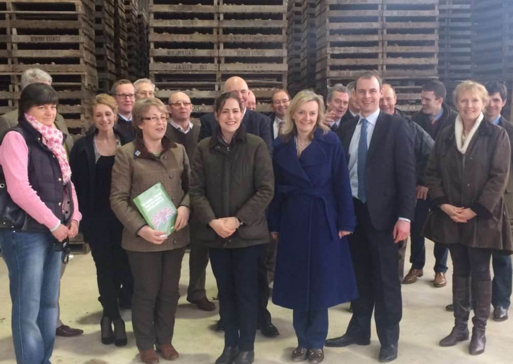 MP Liz Truss with Conservative candidates Matt Warman and Victoria Atkins and members of the National Farmers Union. DJ