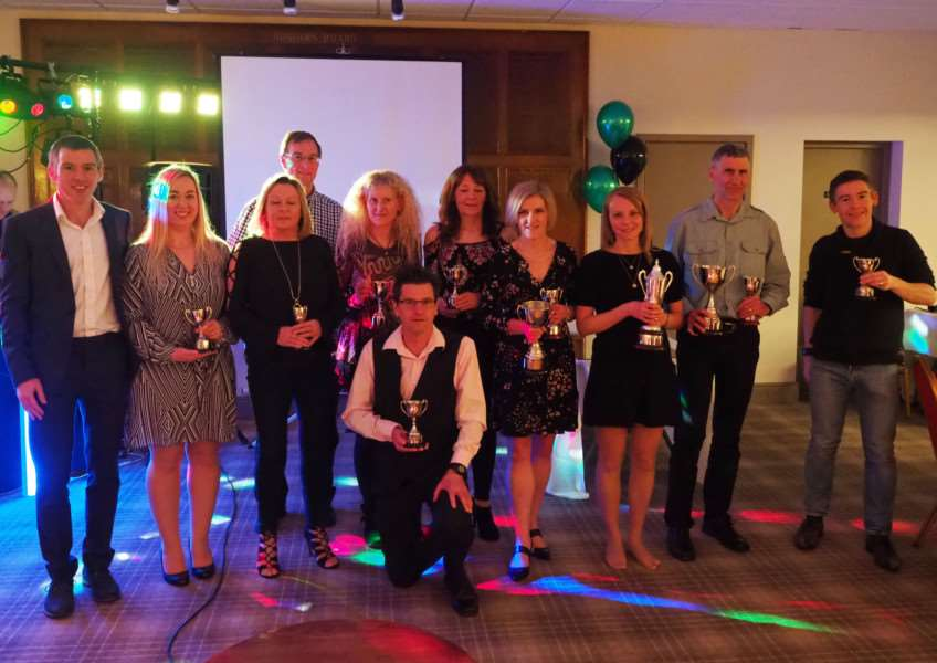 The 10 GRC award winners with their trophies and club chairman Matthew Kingston-Lee (left(. Photo: Richard Hall