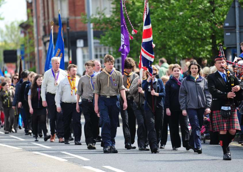 Scouts and guides will parade on Sunday.