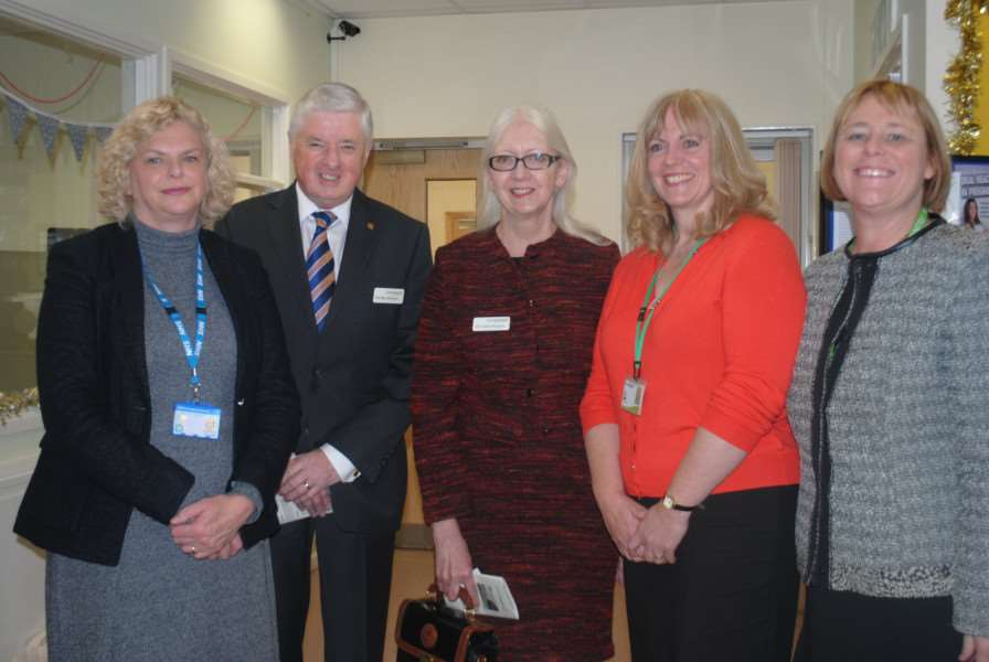 Attending the launch of the new Grantham maternity hub are, from left, Sue Jarvis, Coun Ray and Linda Wootten, Fiona Railton and Michelle Andrews.