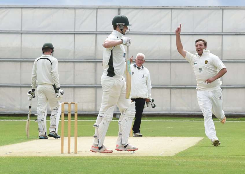 Grantham CC bowler Dan Freeman's delivery sends a Boston batsmen back to the pavilion. Photo: Toby Roberts