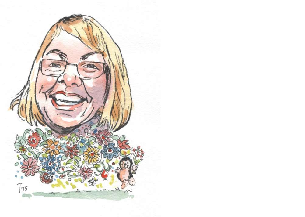 Caricature of florist Pat Joyce, by Terry Shelbourne.