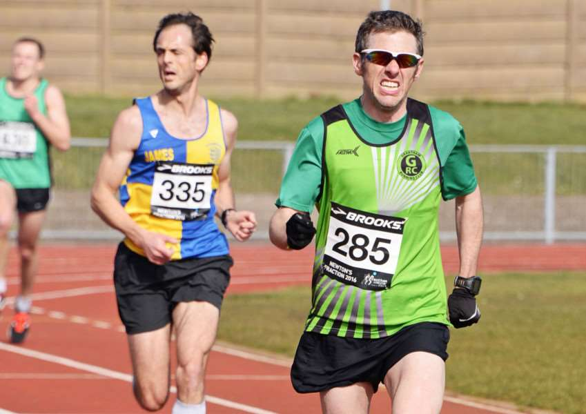 Matthew Kingston-Lee, Grantham Running Club, finishing second at the Meres Stadium. Photo: yourraceday.co.uk GV879-YTE5Xac4hJLmb5