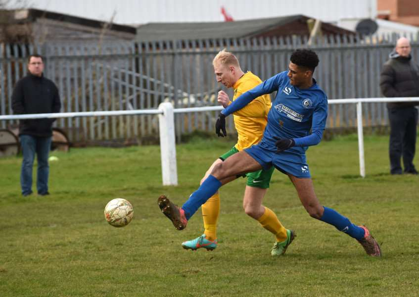 Action from Harrowby United's slender win over Oakham on Saturday. Photo: Toby Roberts