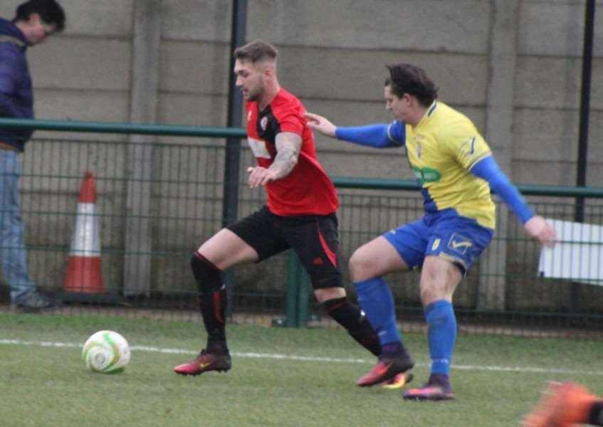 On the ball for Harrowby, Luke Peberdy scored the Arrows' second equaliser on Saturday.