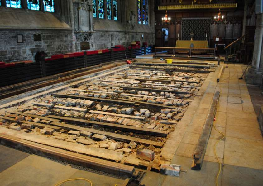 Work on the nave continues in St Wulfram's Church, Grantham.