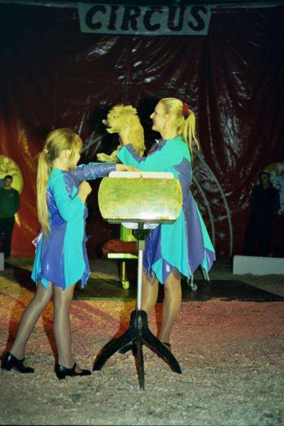Cinzia, left, helps with an act at the circus.
