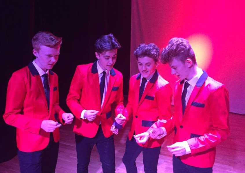 Jersey Boys perform at Priory Ruskin Academy in Grantham. From left are William Parsons, Lewis Fitt (Director), Jack Palin and Robert McNulty, all Year 11 Performing Arts students at the Academy.