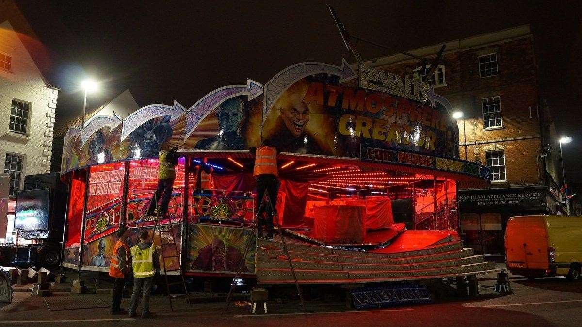 Ian Hides sent in this picture of the Mid-Lent fair setting up in Grantham. (8316445)