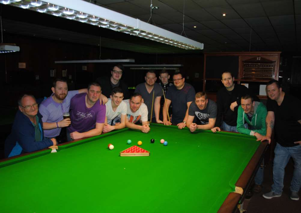 Snooker marathon players ready for their 24-hour fundraiser at Grantham Snooker and Pool Club. Photo: 0287A