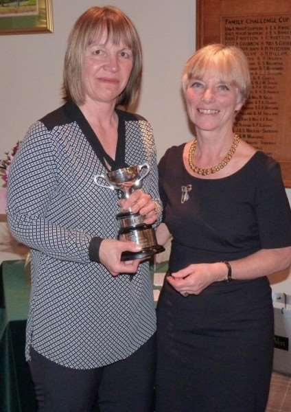 Winter Knockout Trophy winner Nicola Routledge (left) and Belton Park ladies' captain Sue Hall.