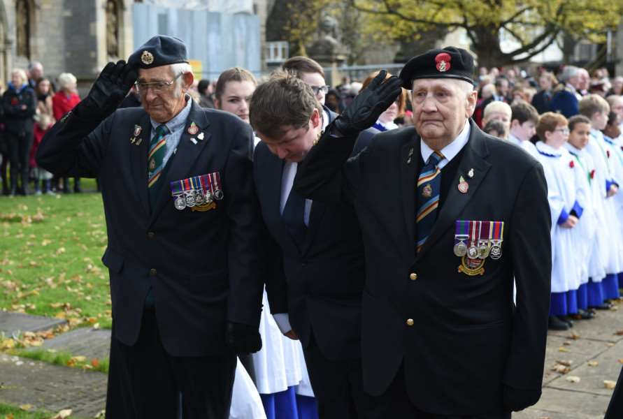 Veterans pay their respects at St Wulfram's Church on Remembrance Sunday.