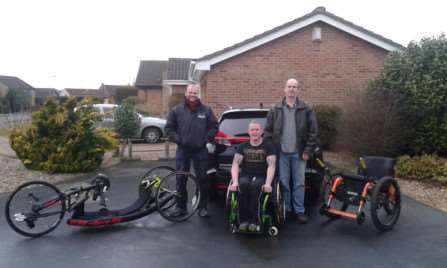 From left, Dave King, Dan Metcalfe-Hall and Andy Metcalfe. A charity night which raised over �11,000 has enabled Dan to purchase equipment including a state-of-the-art handcycle.