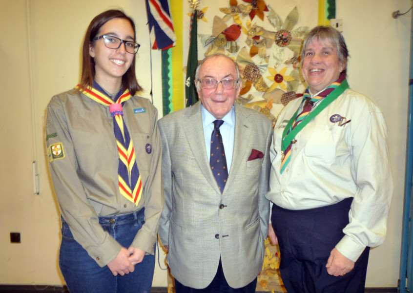 Pictured, from left, are ' Explorer junior leader Daisy Hardwick-Shaw, Richard Harris of the Granta Lodge and scout group leader Alison Kelly.