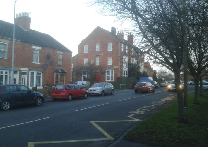 Harrowby Road outside St Anne's School, Grantham.