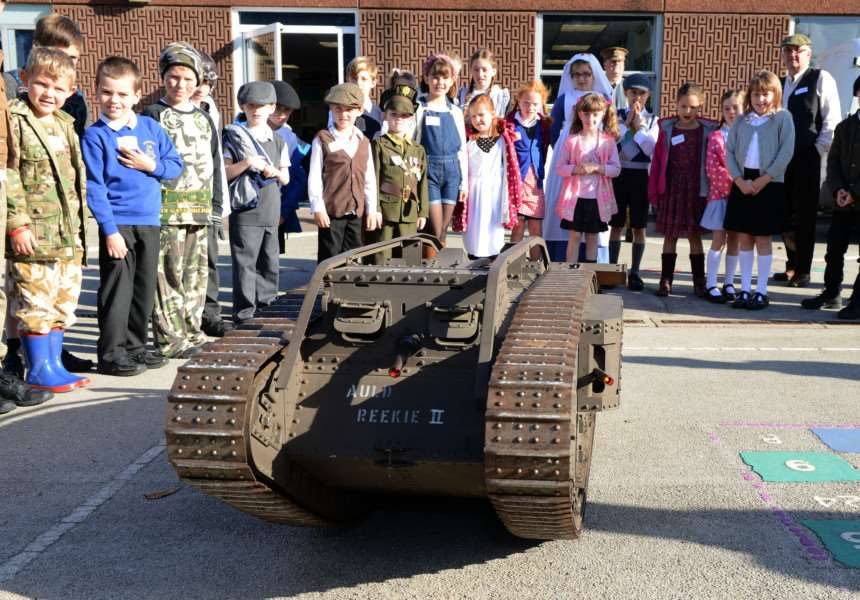 The Lincolnshire branch of the Western Front Association demonstrate a working model of a WW1 tank to the pupils. Video and photos by Toby Roberts.