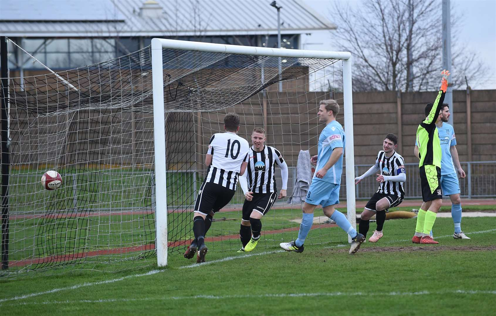 The only time Grantham Town had the ball in the back of the Stafford Rangers net - but Chris Salt's header was disallowed for offside. Photo: Toby Roberts (6622450)