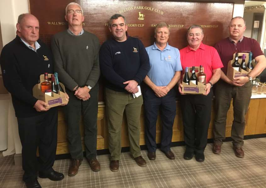 Belton Park Charity AM-AM winners, from left - Alan Barnes, John McClelland, event organiser John Kirkup, club captain Derek Bashford, Andrew Wain and John Whaler.