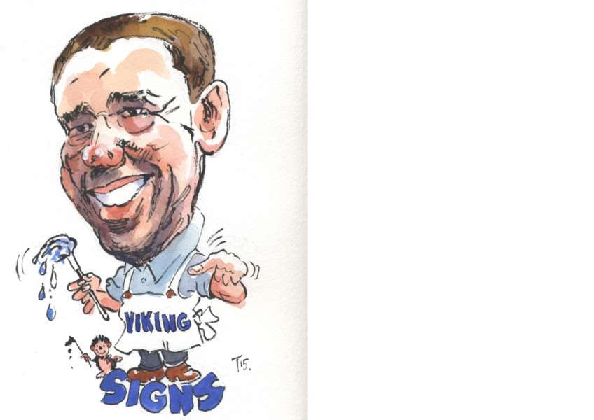 Darren Joint of Viking Signs. Caricature by Terry Shelbourne.