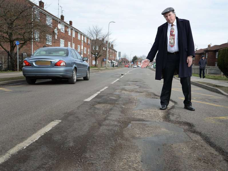 Ian Selby filmed the potholes to highlight the impact they are having on the town's road-users.