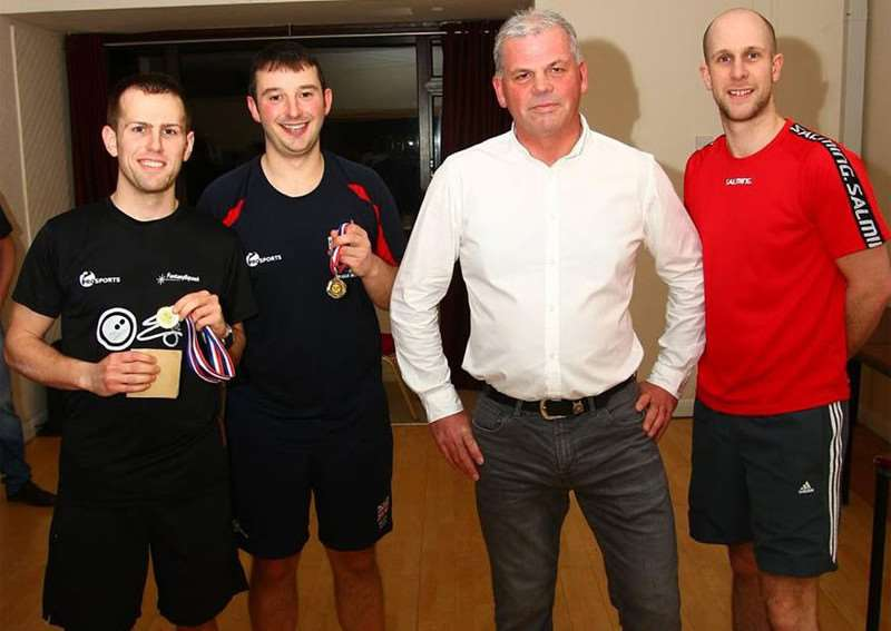Winners of the A event Phil Scully and Daniel Busby with club chairman Simon Loveridge and competition organiser Martin Gibson.