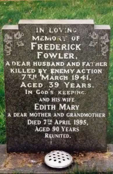 Gravestone of Frederick Fowler and his wife Edith Mary, of Great Gonerby, in the graveyard of St Sebastian's church.