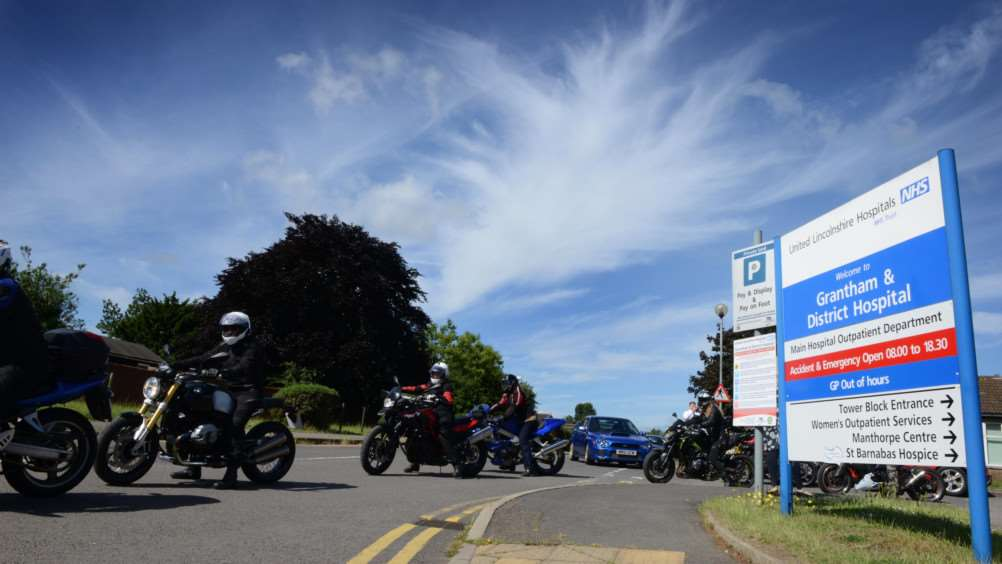 Motorcyclists leave Grantham Hospital on the Fighting 4 Life Lincolnshire Bikers Run