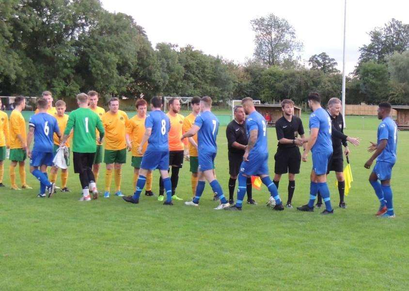 Meet and greet: Harrowby United and hosts Oakham United on Wednesday night.