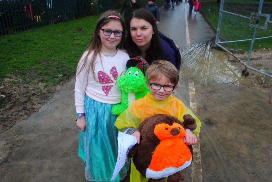 Amanda Godber with her children Eloise and Ewan, together with cuddly toys, in the egg hunt.