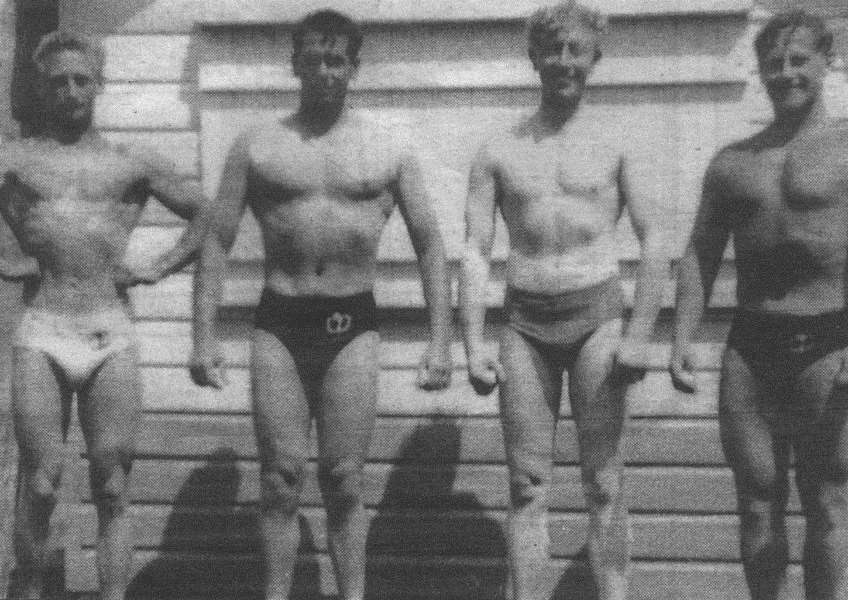 Grantham Physical Culture Club early members Charlie Holmes, Ron Macdonald, Eddie Lee and Trevor Holmes.