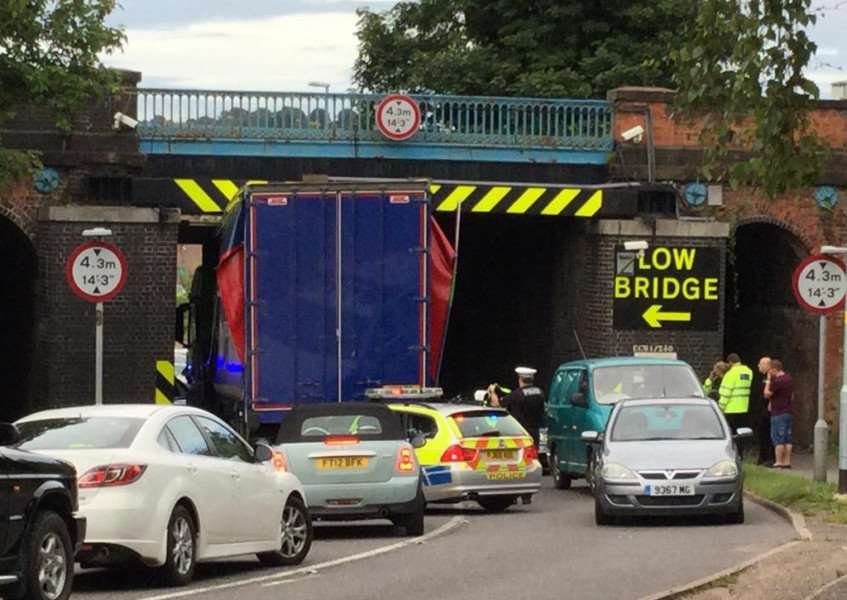 Lorry stuck at Barrowby Road bridge in Grantham. Picture courtesy of Fran Burgess on Twitter.