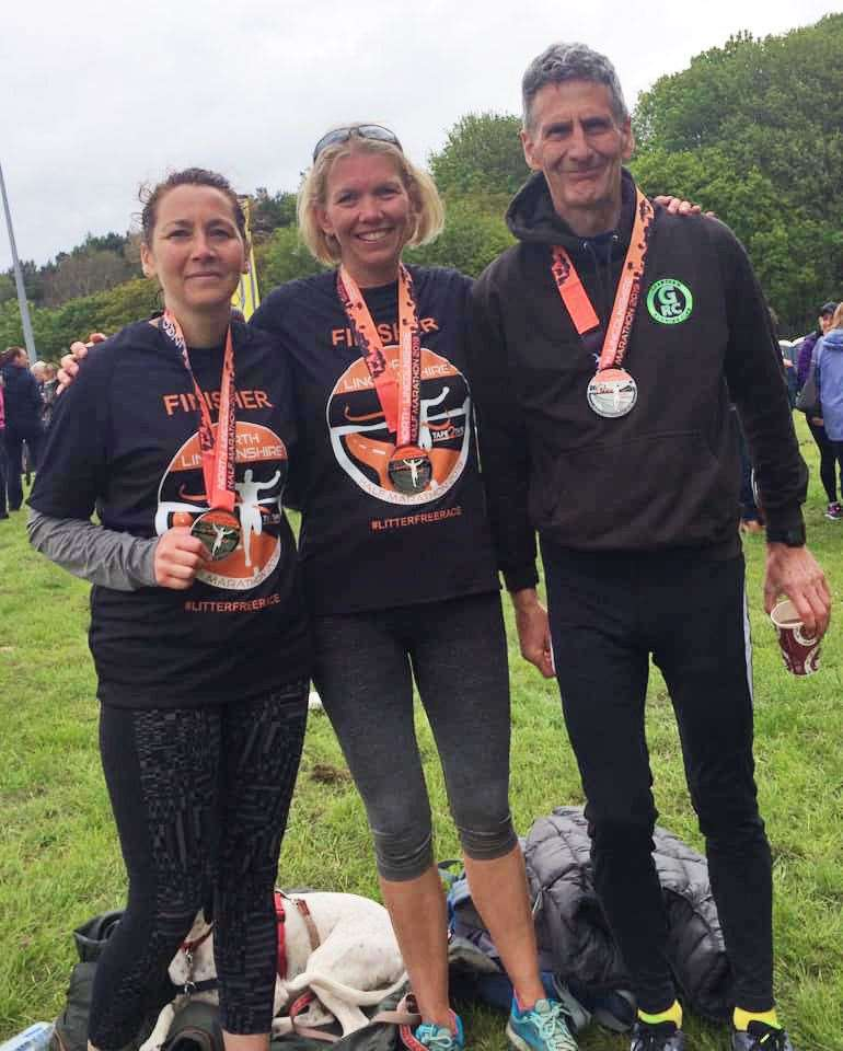 (L to R): Nichola Webster; Hayley Staff; and Rob Howbrook, Grantham Running Club finishers of the North Lincolnshire Half Marathon held on Sunday 5th May. (10262297)