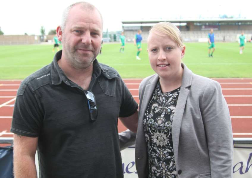 James Graham of JAG Decorating and Grantham Town director Sophie Cope.