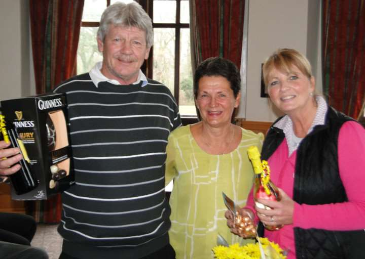 Colin Sneesby and Tracey Streeter along with Belton Woods lady captain Wendy Stewart.