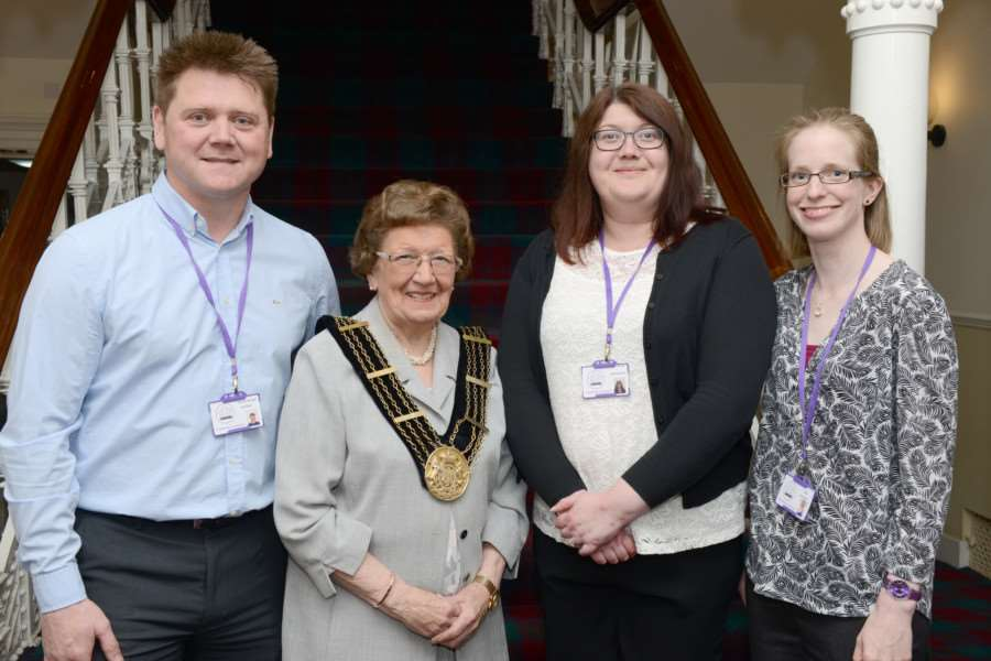 Mayor of Grantham with representavies of her chosen charity Trust House Lincolnshire, from left, Neil Wells, Sian Reynolds and Kath Webb.