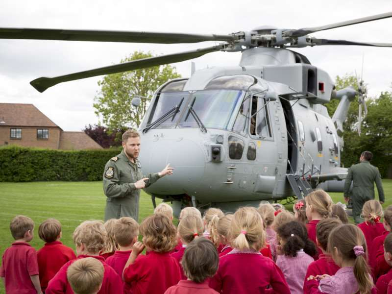 Pupils learn about the Royal Navy Merlin at Long Bennington School