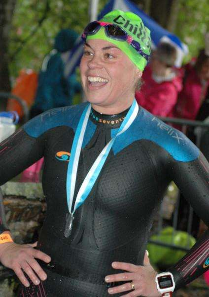 Catherine Davies, minutes after finishing The Big Chill Swim.