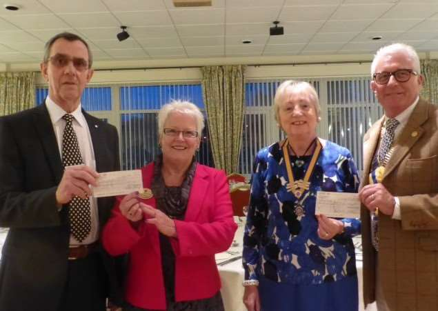 Donations are made to the Inner Wheel club to help pay for mosquito nets in Kenya. Pictured from left are David Holmes, of the Sunrise Rotary Club, District International Service Chairman Pam Metcalf, Inner Wheel President Linda Burr and Rotary Club of Grantham President Neville Thompson.