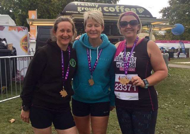 Grantham Running Club's Rosalind Sadler, Julie Gilbert and Marie Boddington in London.