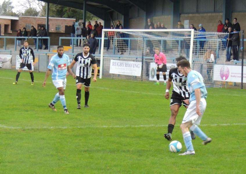 Harrowby United defending at Rugby Town on Saturday.