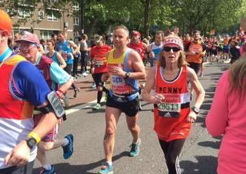 Penny Hedley Lewis takes part in the London Marathon.
