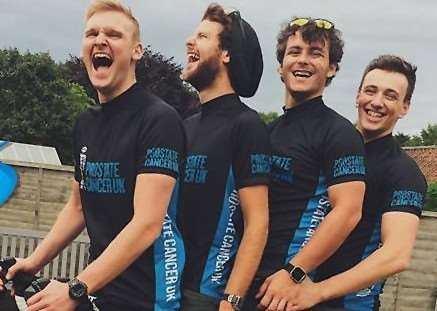 Alex Martin, Martin Halliday, Rhys Mercer and Georgio King will cycle from Grantham to Paris to raise money for Prostate Cancer UK.
