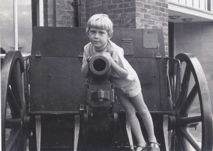 Timothy Matsell playing on the 12 pounder gun at Lincoln, formerly in Grantham. Photo courtesy of Michael Matsell.