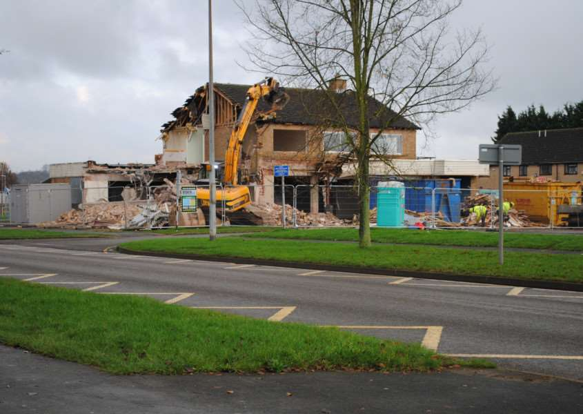 Demolition of Jacko's pub, Trent Road, where new housing is to be built.