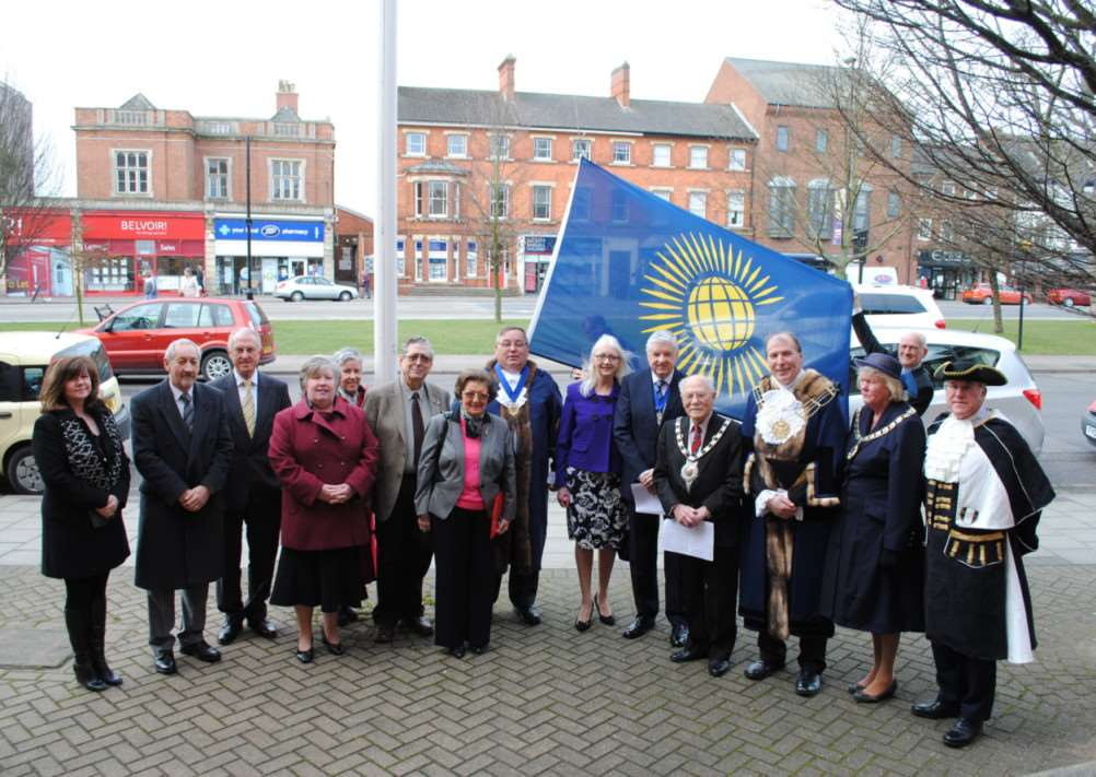 Dignitaries attend the Commonwealth Day ceremony outside the South Kesteven District Council offices in Grantham. Photo: 0308A