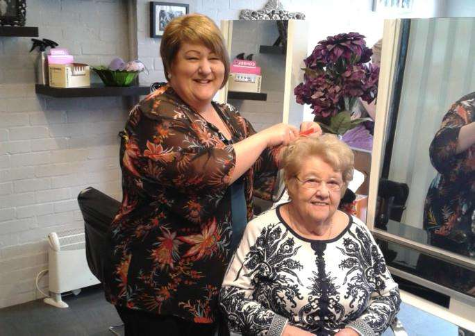 Maria Hackney and her mother Joye Smith at Maria and Co hairdressing salon in Welby Street, Grantham. Photo: 0325A
