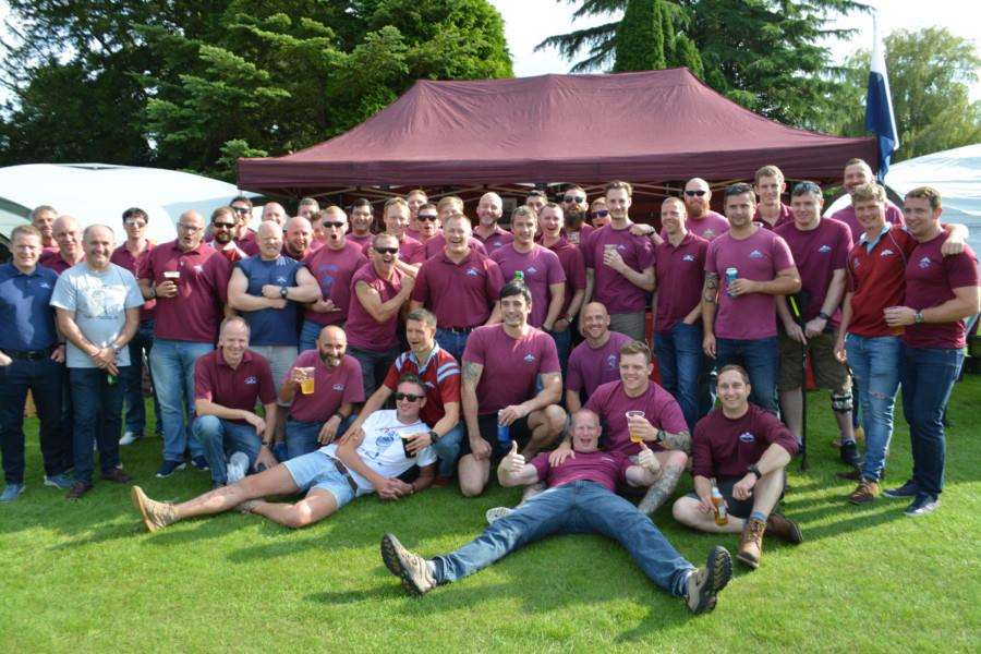 Members of the 216 Parachute Signals Squadron relax at the Caythorpe Gala and Arnhem Commemoration.