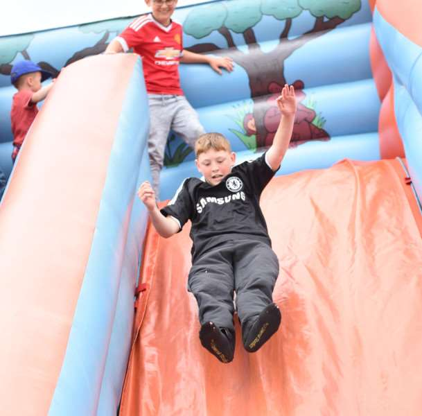 Jason Smith on the slide at the Danny Walsh memorial event. Photo: TRP-30-7-2016-923A (14)
